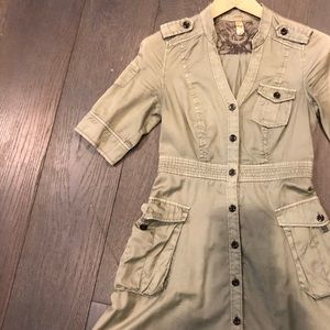 Army Green Military Vintage Inspired A line dress
